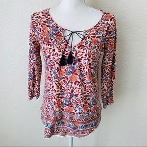 LUCKY BRAND Boho Floral V-Neck Blouse Top Size XS